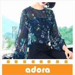 adora 時尚印花仿桑蠶絲燈籠袖寬鬆襯衫