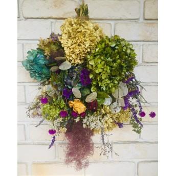 孔雀草と紫陽花など全18種の花材のドライフラワースワッグ