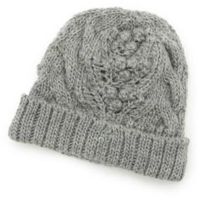 【58%OFF】 ハッシュアッシュ ポコポコアラン編みニット帽 レディース グレー(012) 00 【HusHusH】 【タイムセール開催中】
