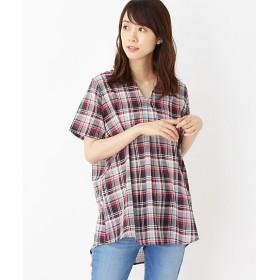【SALE(伊勢丹)】<SHOO LA RUE/シューラルー> 麻風Aラインシャツ(2001553952) クロ【三越・伊勢丹/公式】