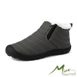 【MINE】防潑水機能保暖時尚戶外防滑強化休閒短靴 灰