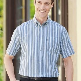 ベルーナ 大人の上質サッカーシャツ 半袖 サックスチェック LL メンズ
