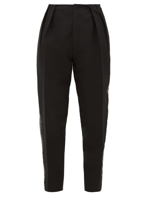 Bottega Veneta - Satin-trim Structured Wool-blend Twill Trousers - Womens - Black