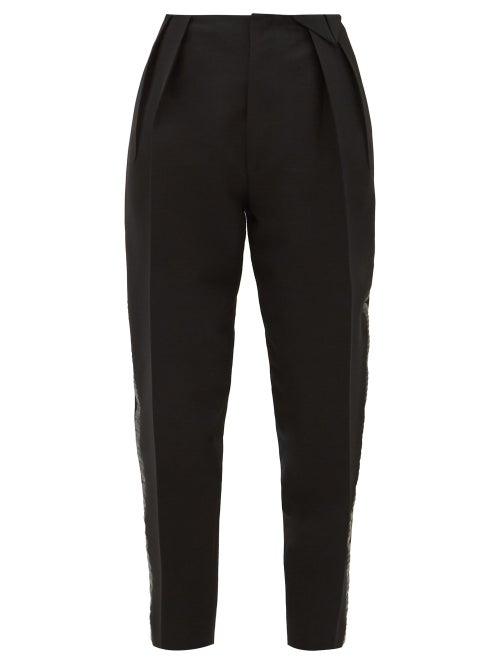 Bottega Veneta - Satin-trim Structured Wool-blend Twill Trousers - Womens - Black
