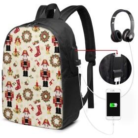 くるみ割り人形とクリスマス リュック バックパックリュックサック USB充電ポート付き イヤホン穴付き 大容量 PCバッグ レジャーバッグ 旅行カバン 登山リュック ビジネスリュック ユニセックス おしゃれ 人気