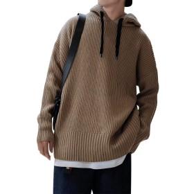 FTIMILD セーター メンズ ニットパーカー フード付き 無地 フーディー 長袖 ルームウェア コットンニット カジュアル 軽い 秋冬 重ね着 オシャレ オーバーサイズ 4色展開