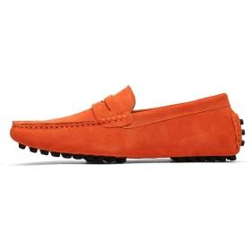 [dhiuebc] カジュアルシューズ スリッポン ローファー メンズスニーカー 靴 24.5cm モカシン スエード オレンジ 通勤 通気性 歩きやすい Uチップ ビンテージ ドライビングシューズ メンズシューズ デッキシューズ ウォーキングシューズ