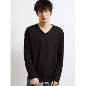 (TAKA-Q/タカキュー)引揃ミニ裏毛ダブルVネック長袖Tシャツ/メンズ ブラック