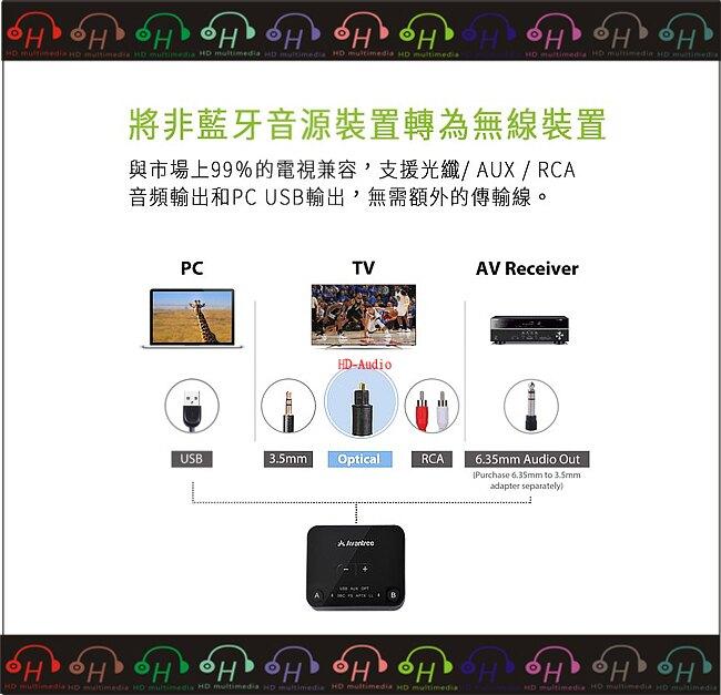 弘達影音多媒體Avantree TC418P 一對二低延遲藍牙音樂發射器 支援aptX-LL技術/支援光纖/AUX/RCA輸出/音量控制