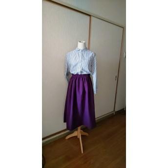 大人かわいいギャザースカート紫パープル