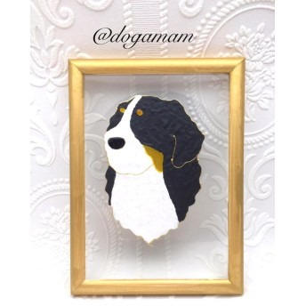 DOG. AM グラスアートフレーム バニ バーニーズ バーニーズマウンテンドッグ 上半身
