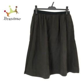 マーガレットハウエル MHL. ロングスカート サイズ2 M レディース 美品 ダークグリーン×黒  値下げ 20200120