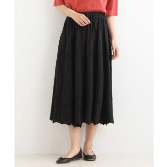 【ニーム/NIMES】 Patterned Fabric イージーフレアースカート(レース