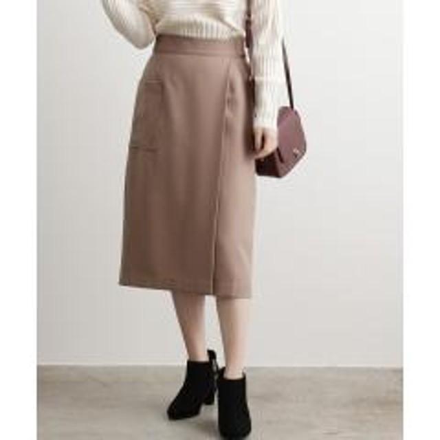 【EASY CARE】ウォッシャブルフラノラップタイトスカート【お取り寄せ商品】