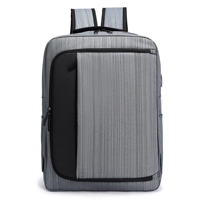 【I.Dear】男女大容量商務電腦USB充電雙肩後背包(BG126灰色)