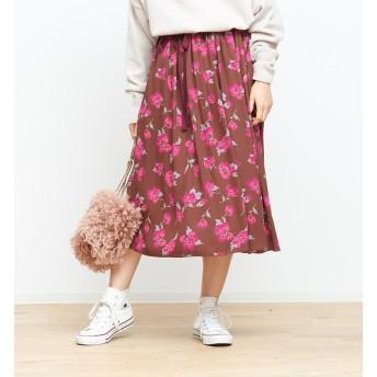 【ルージュ・ヴィフ ラクレ/Rouge vif la cle】 ベルト付きフラワースカート