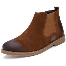 [CHIIKA] チェルシーブーツ メンズ ショートブーツ サイドゴアブーツ スエード ワークブーツ ハイカット 焦がし加工 ベーシック 防水 頑丈 柔らかい 日常着 通勤用 オフィス 裏起毛選択可能 秋 冬 短靴 ブラウン