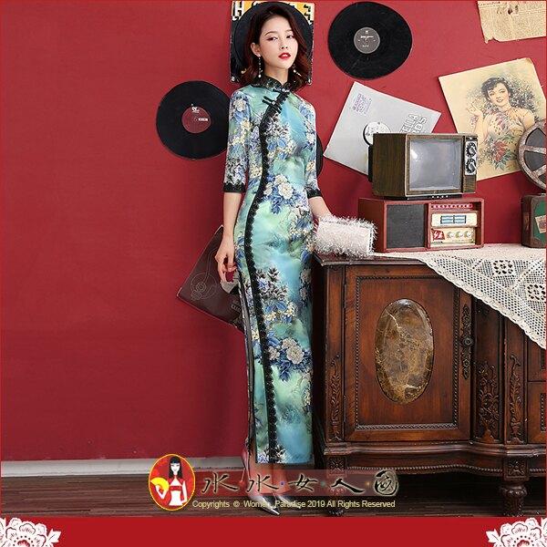【水水女人國】~優雅浪漫旗袍風~滿庭(藍色)。復古原創仿絲印花立領黑蕾絲邊改良式時尚修身顯瘦俏麗七分袖長旗袍洋裝
