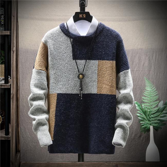FOFU-毛衣寬鬆慵懶風針織衫日系拼接色塊情侶毛衣【08B-B1947】
