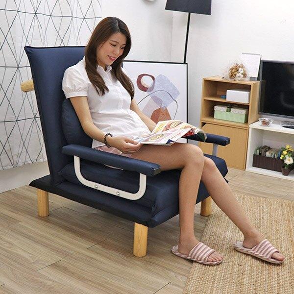 沙發床 簡易單人床 看護床《優利日式多功能單人沙發床椅-贈同色月亮枕*1》-台客嚴選