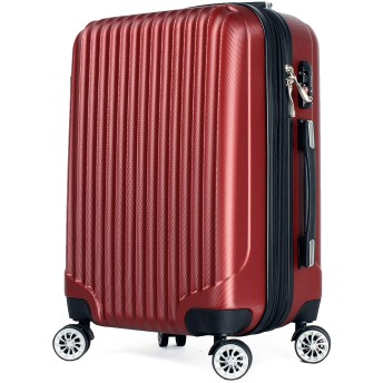 【神戸リベラル】 LIBERAL 軽量 S,M,Lサイズ スーツケース キャリーバッグ 容量アップ 8輪キャスター TSAロック付き (Sサイズ(1-3泊用 40/50L), ワイン)