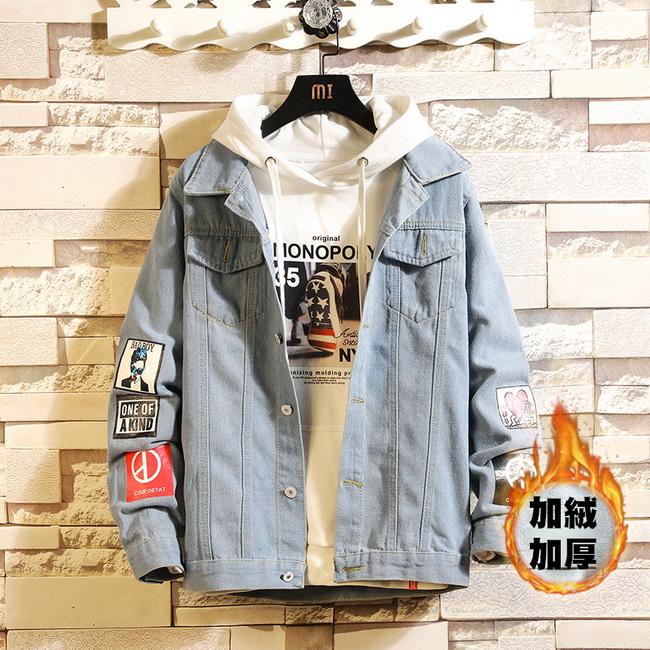 FOFU-牛仔外套加厚牛仔外套貼標裝飾寬鬆個性夾克外套【08B-F0673】