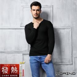 任-【MORINO摩力諾】日本素材發熱衣長袖圓領衫/長袖T恤-黑色