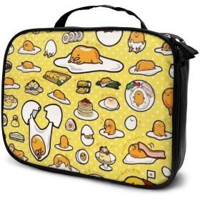 ぐでたま Gudetama メイクバッグ 旅行用品収納バッグ 軽量 大容量 学生用 ブランド 人気 女子 小物入れ キャンバス 長方形 収納上手 小さめ