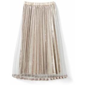 チュールでラッピングベロアスカート〈シルバー〉 フェリシモ FELISSIMO【送料無料】