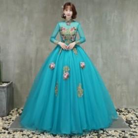 ドレス   パーティー  カラードレス ウェディング  ドレス  長袖 おしゃれ   イベント  演奏会 大きいサイズ