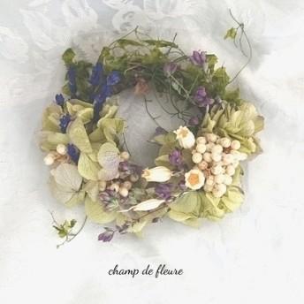 グリーン紫陽花と小花のリース