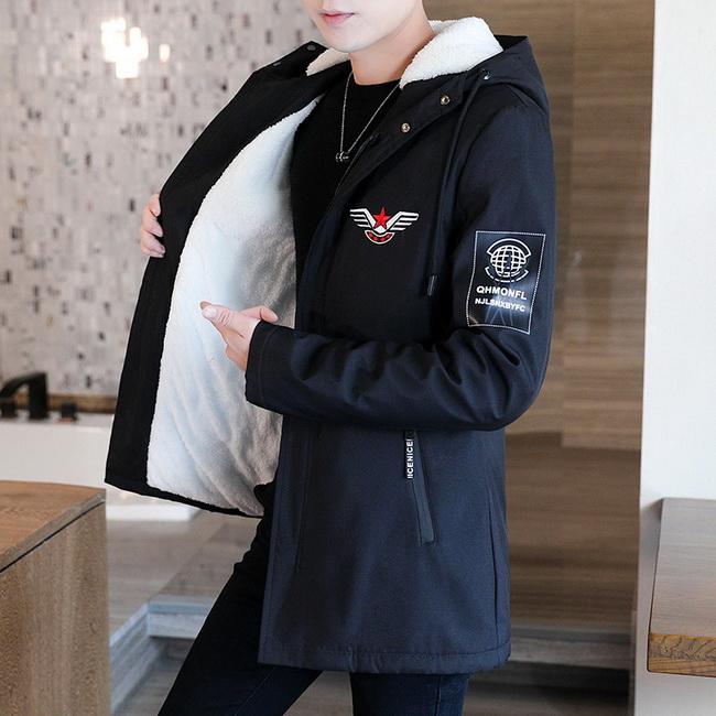 FOFU-外套加絨加厚風衣中長版休閒夾克外套【08B-F0676】