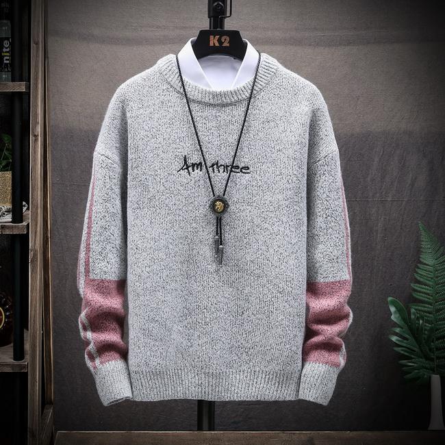 FOFU-毛衣日系復古潮流圓領針織衫寬鬆套頭內搭毛衣【08B-B1948】