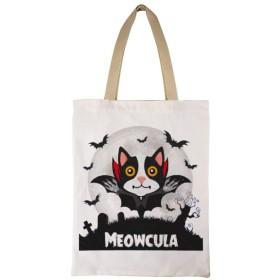Halloween Cat Meowcula ハロウィン キャンバスバッグ トートバッグ ショルダバッグ ハンドバッグ マザーズバッグ 両面印刷 大容量 通勤 通学 旅行 <帆布,キャンバス> カジュアル 多機能 多用途 肩掛け レディース メンズ おしゃれ 3545cm