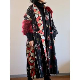黒絣xRedファーのキモノOversize Long jacket (no.356)