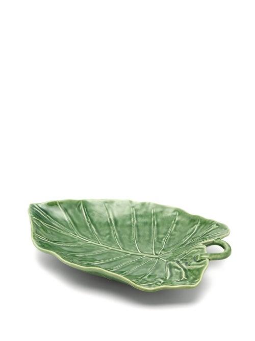 Bordallo Pinheiro - Sunflower Leaf Earthenware Platter - Green