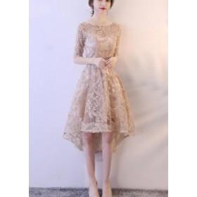 パーティー ドレス 前短後長 イブニングドレス 演奏会 ウェディングドレス 結婚式 ドレス 二次会 Aライン ブライダル フォーマ