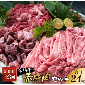 《3か月定期便》宮崎牛赤身肉セット(合計2.4kg)都農町加工品