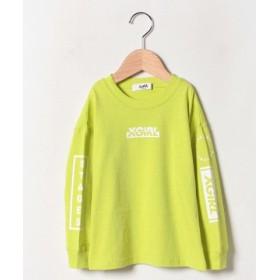 (X-girl Stages/エックスガール ステージス)袖ロゴ長袖Tシャツ/レディース ライトグリーン