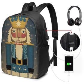 くるみ割り人形キング リュック バックパックリュックサック USB充電ポート付き イヤホン穴付き 大容量 PCバッグ レジャーバッグ 旅行カバン 登山リュック ビジネスリュック ユニセックス おしゃれ 人気