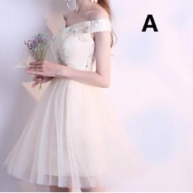 新品 ミニドレス パーティードレス 姫系 イブニングドレス  ひざ丈 二次会 発表会 ドレス Aライン 花柄 編み上げ 結婚式