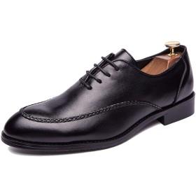 [トーフォズ] ビジネスシューズ 革靴 紳士靴 メンズ レースアップ 外羽根 通気性 滑り止め 滅菌 大きいサイズ 通勤 耐摩耗性 普段用 就活 ブラック 26.5cm WJZ68101