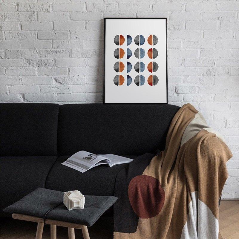 幾何半圓-抽象畫作/極簡北歐/現代/繪畫/客廳/臥室/玄關