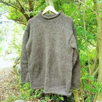 手編みの手作りセーター ウール100% (希少なヤクウール混合)ゆったりサイズで男女兼用 ユニセックス