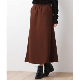 表面ぽこぽこ裏起毛ワッフル風ロングフレアスカート (大きいサイズレディース)スカート, plus size skirts, 裙子