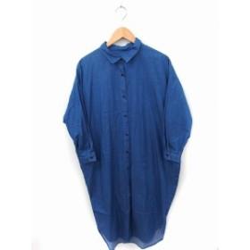【中古】blue line ワンピース シャツ ゆったり 長袖 ロング丈 綿 M インディゴ /FT25 レディース