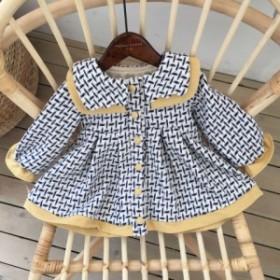 童加絨コート2019冬の新型韓国版格子のラシャのコート洋風の王女の子供のスカートの服