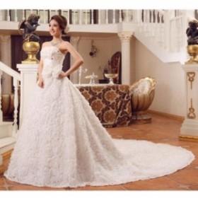 二点送料無料!刺繍シンプルウェディングドレス 豪華なウェディングドレス☆格安【結婚式】【二次会】【パーティー】【披露宴】トレーン