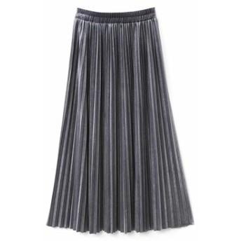 上品な光沢のベロアプリーツスカート〈グレー〉 IEDIT[イディット] フェリシモ FELISSIMO【送料無料】