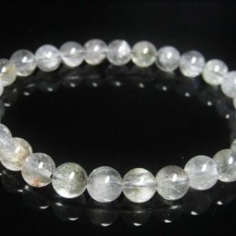 現品一点物 プラチナルチル ブレスレット 白金水晶 数珠 8ミリ 20g Pr51 シラー 虹入水晶 クォーツ ルチル